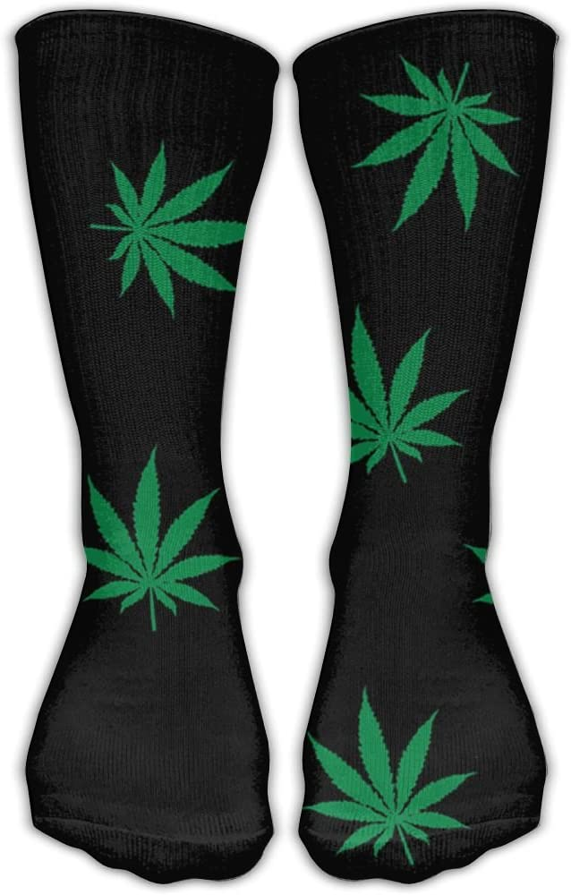 Pin-1 Colorful Cannabis Leaf Athletic Socks Novelty Running Long Sock Cotton Socks