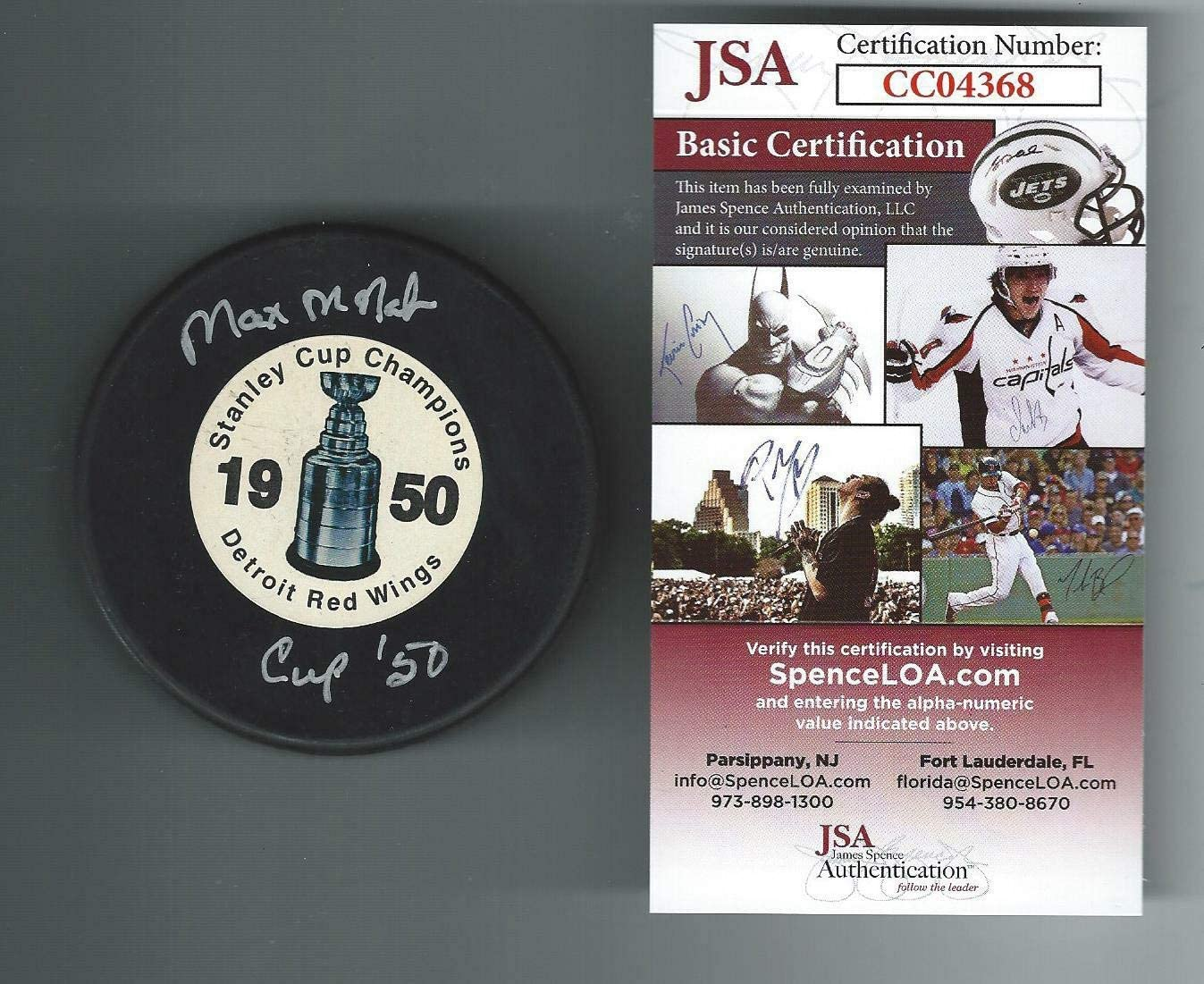 Authentic Autographed Max Mcnab Detroit Red Wings 1950 Stanley Cup Champions Puck JSA COA
