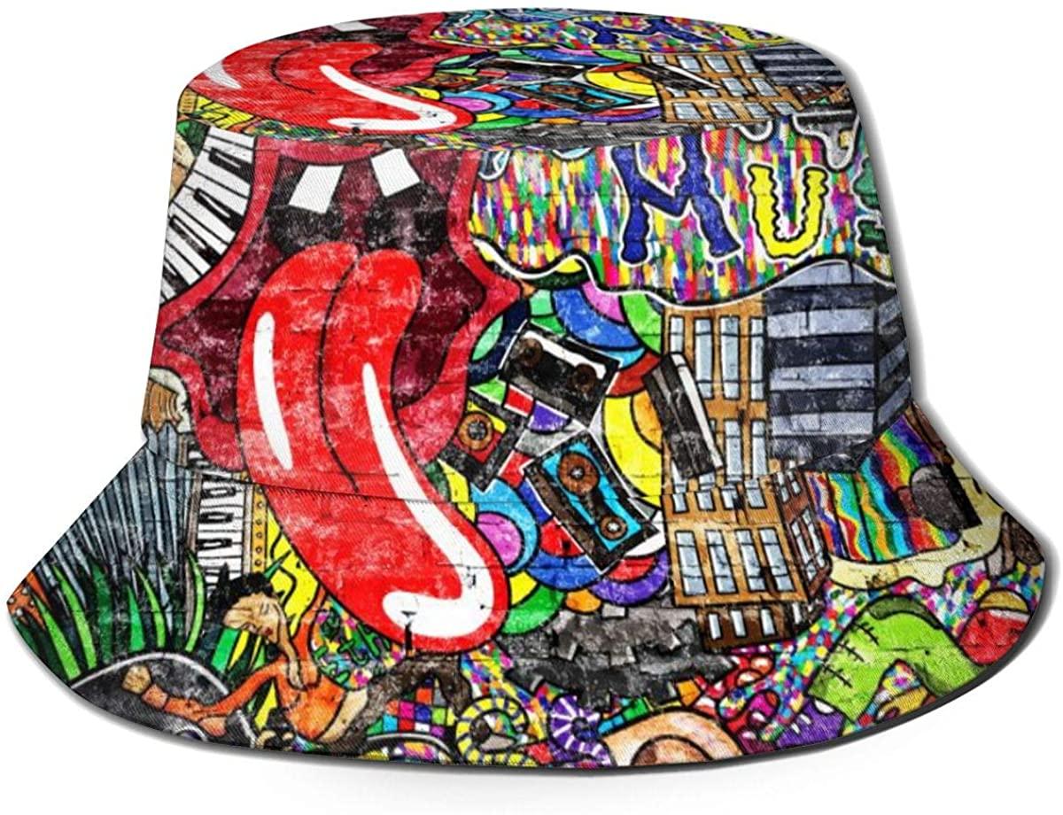 Flat Top Breathable Bucket Hats Unisex Red Lips Bucket Hat Summer Fisherman's Hat