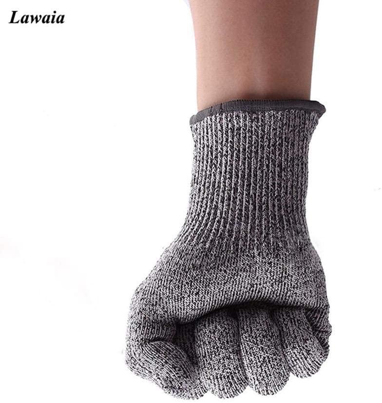 Lawaia Full Finger Fishing Gloves Men Anti-Cutting Hand Protection Gloves Finger Protector Anti Slip Grey Fishing Gloves Outdoor, Light Grey,S