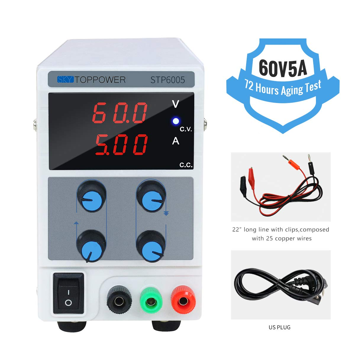 DC Power Supply Variable 60V 5A Switching Regulated 3-Digital Power Supply Single-Output 110V, with Alligator Leads, US Power Cord