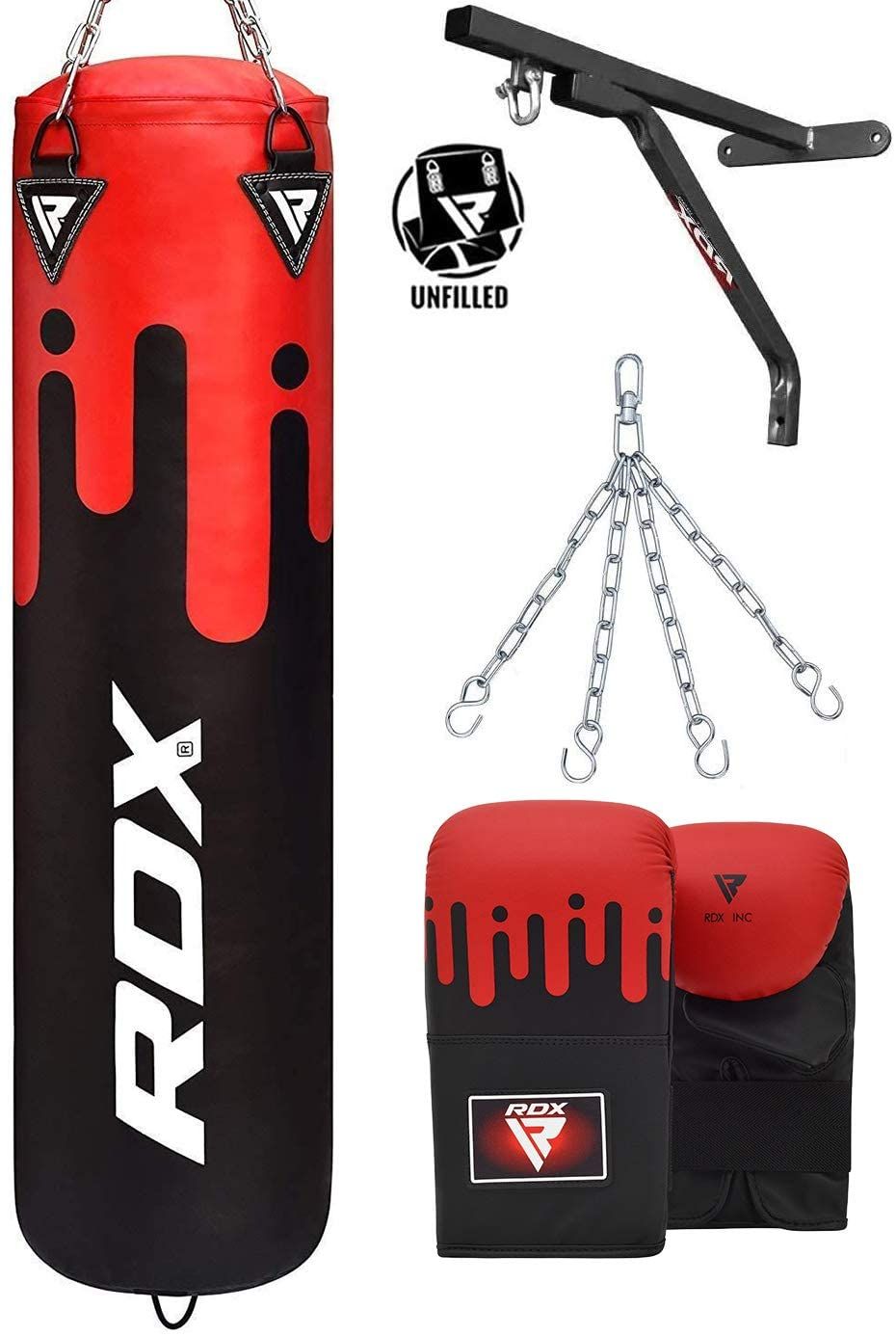 RDX Punching Bag UNFILLED Set Muay Thai Training Gloves with Punch Mitts Hanging Chain Wall Bracket, Great for MMA, Kick Boxing, Martial Arts, 4PC Available in 4FT 5FT