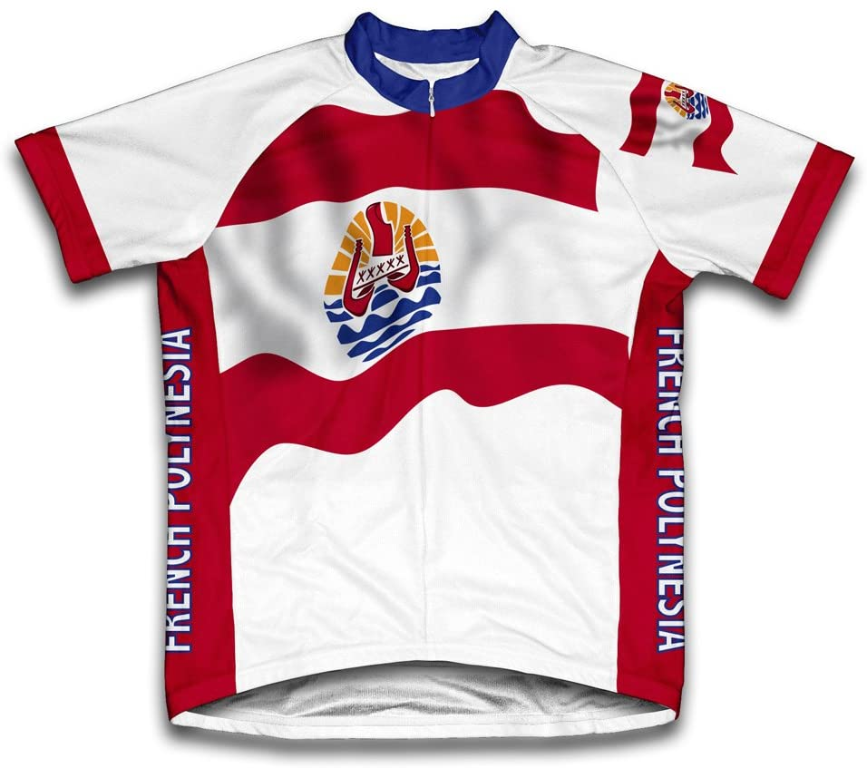ScudoPro French Polynesia Flag Short Sleeve Cycling Jersey for Men