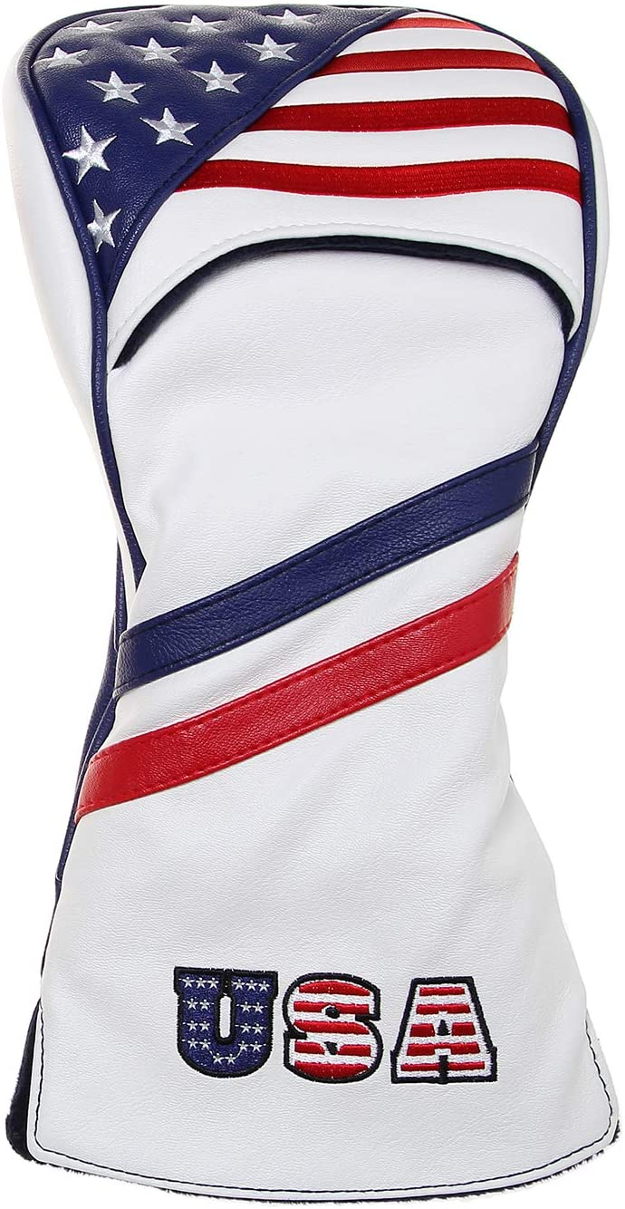 Yopral Golf Headcover American Flag Vintage Retro Patriotic 460cc Club Golf Driver Head Covers