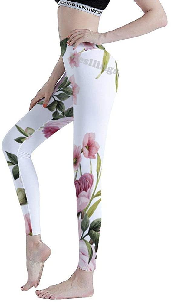 Mesllings Watercolor Tropical Flower Women's High Waist Printed Yoga Leggings Tummy Control Workout Running Pants