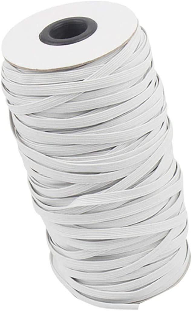 "Jonerytime_109 Yards Length 1/6"" Width Braided Elastic Band White Elastic Cord Heavy Stretch High Elasticity Knit"