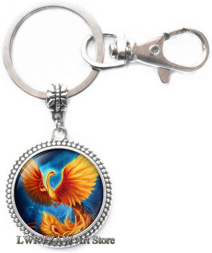 Phoenix Key Ring, Phoenix Art Keychain, Fire Phoenix, Phoenix Hand Drawing,Phoenix Bird Gift Phoenix Charm Men's Keychain Glass Dome Key Ring Photo,M306