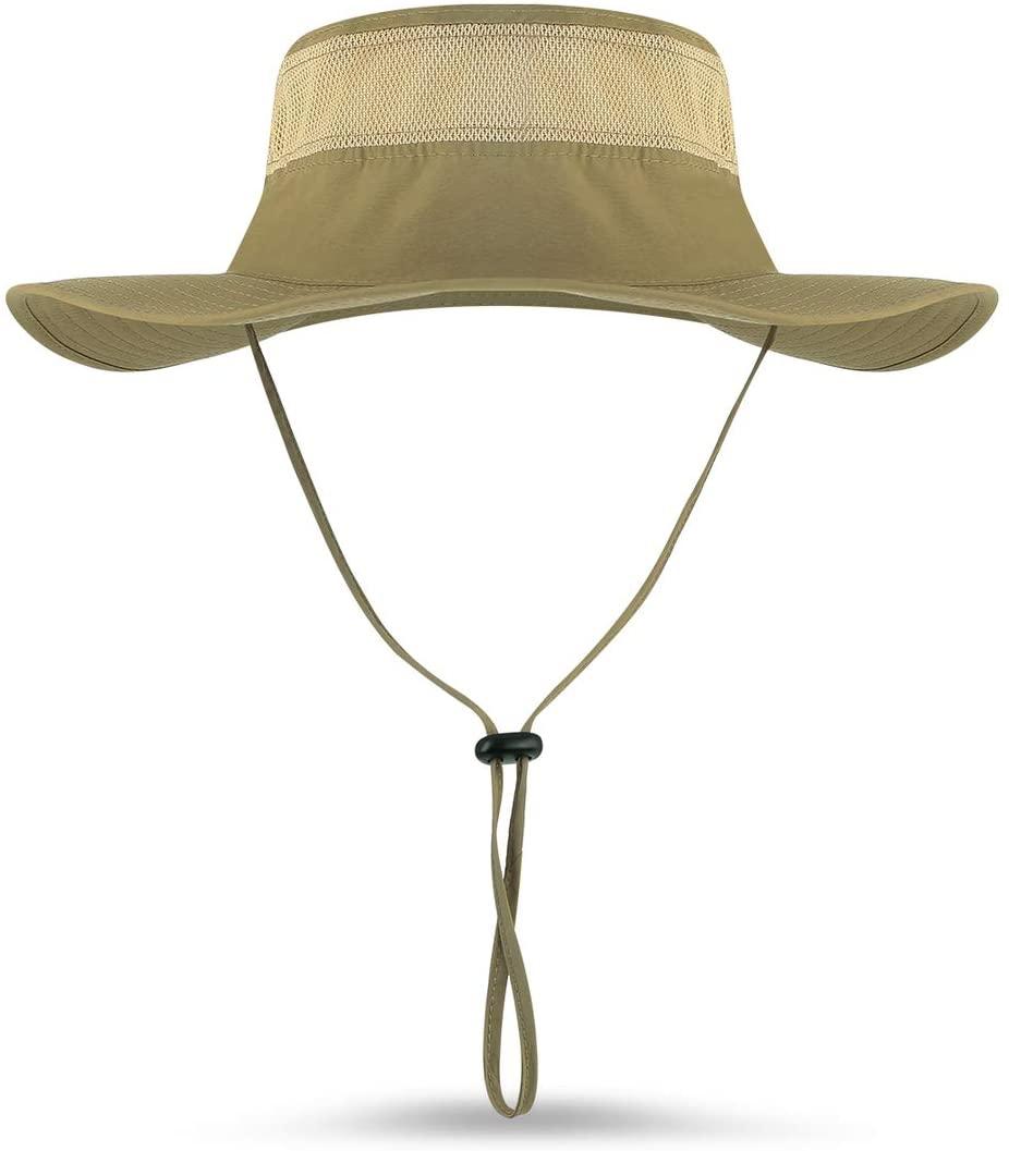 Mamilafe Fishing Hats for Men UPF50+ UV Protection Windproof Wide Brim Sun Cap Outdoor Bucket Mesh Hat