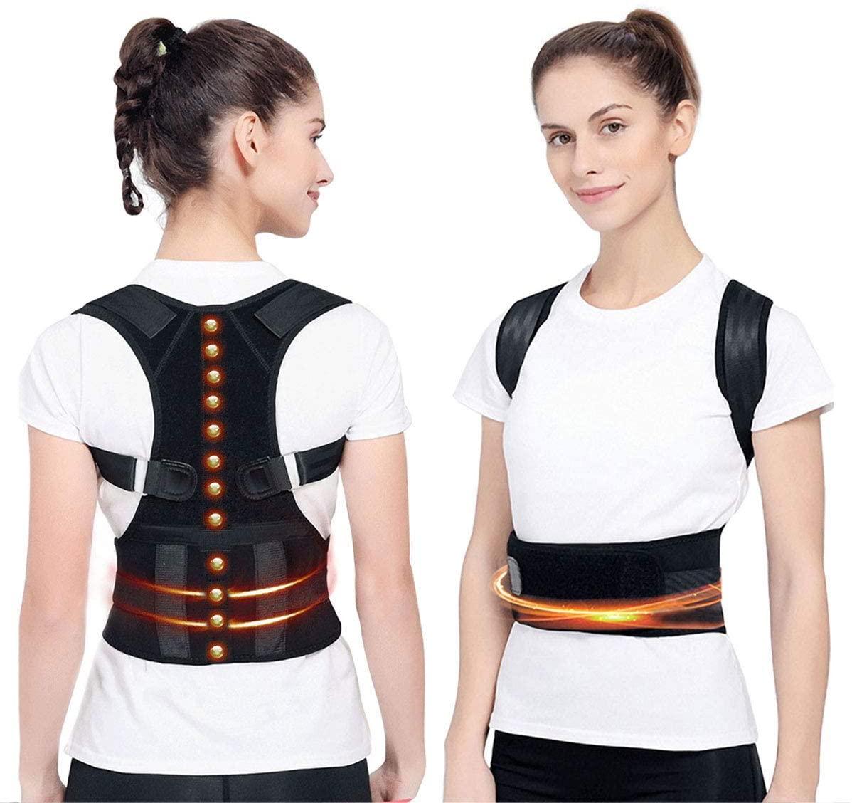 Magnetic Posture Corrector Back Brace,Therapy Support for Back Neck Shoulder and Upper Back Pain Relief Perfect Posture Brace for Cervical and Lumbar Spine Fully Adjustable Belt and Straps(M)