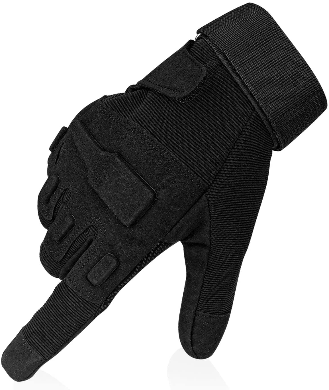 Flexzion Full Finger Tactical Gloves -Black (XL) Anti-Skid Protective Gear w/Knuckle Paddings, Multi-Function Sports Gloves for Motorcycle Cycling Airsoft Military Combat Army Training Outdoor