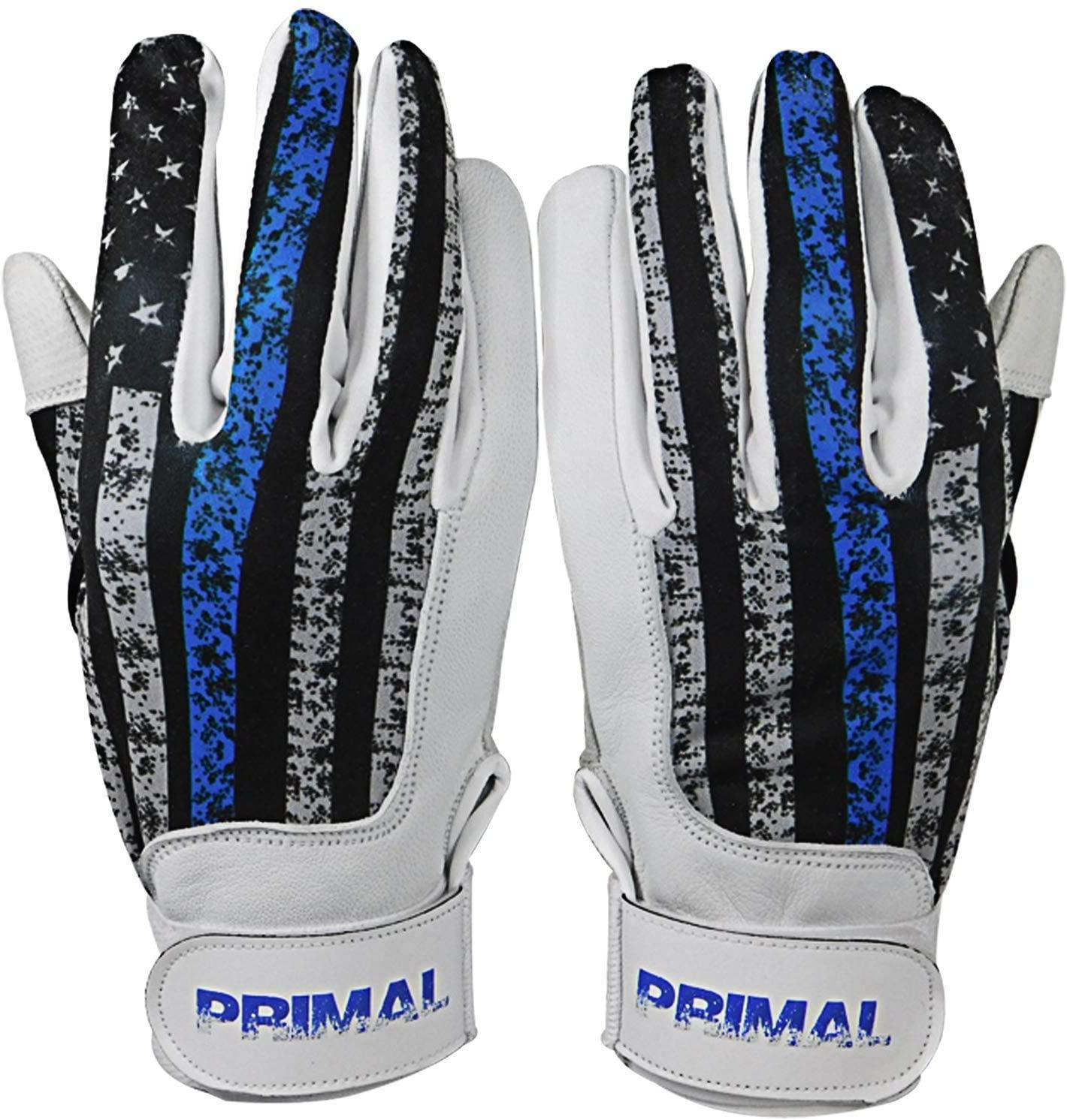 PrimalBaseball USA Blue Line Baseball Batting Gloves