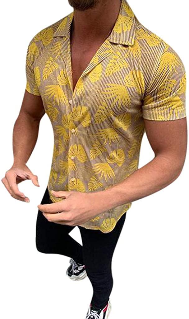 nightfall Men's Casual Shirt Funky Hawaiian Shirt Men's Slim Fit Short Sleeve Front Pocket Hawaiian Print Leaves Gold
