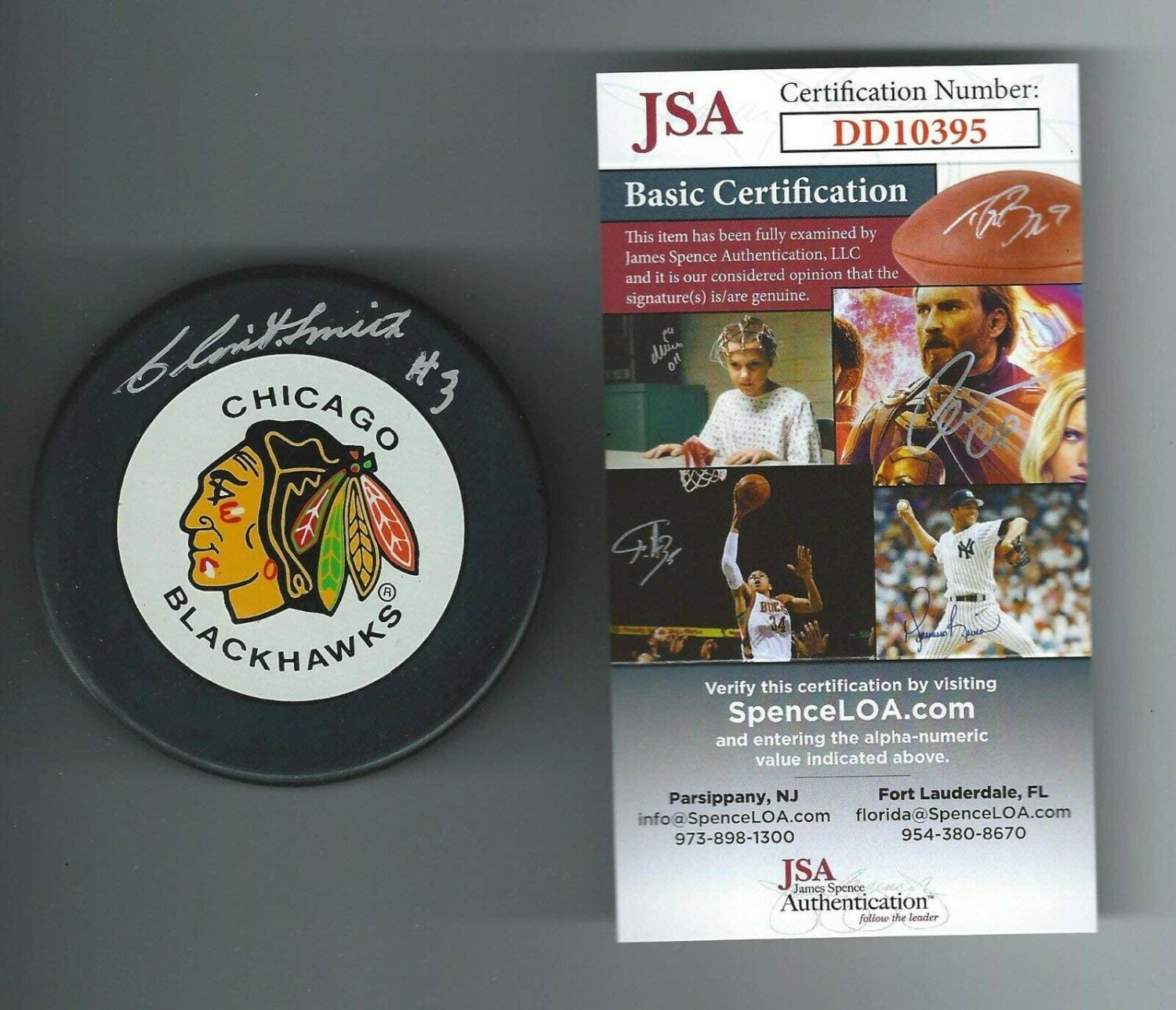 Clint Smith Autographed Signed Chicago Blackhawks Trench Puck JSA Authenticated