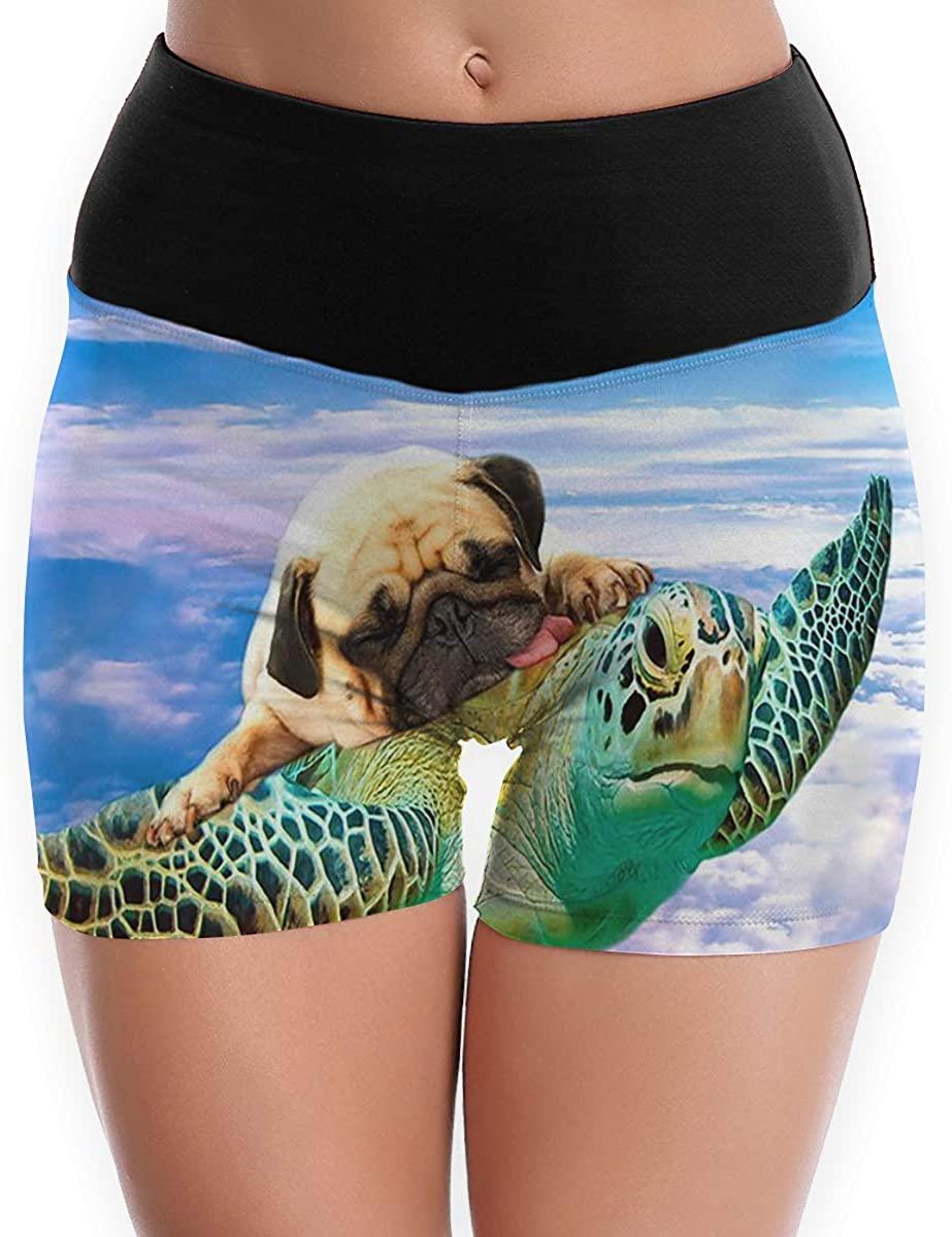Women Shorts Pants Turtle Pug Dog Puppy in Sky High Waist Tummy Control Leggings