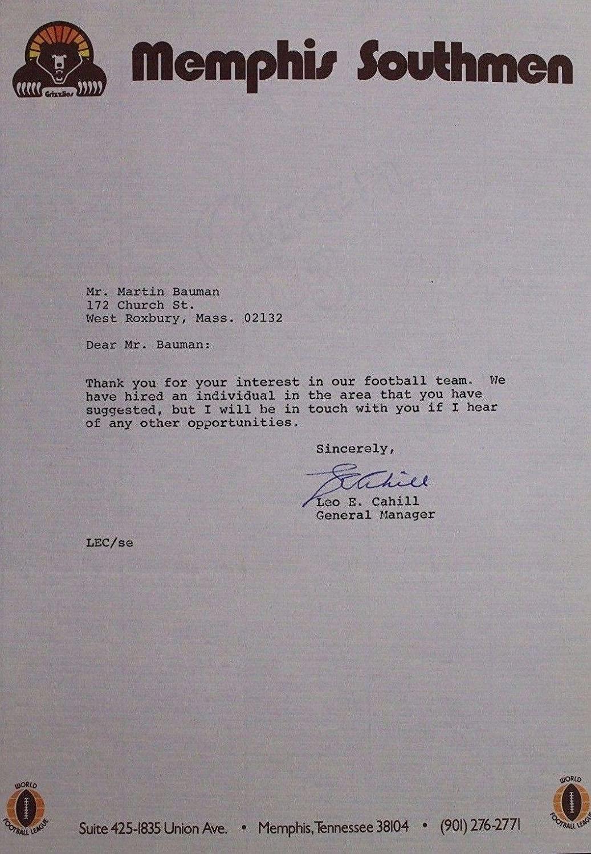 Memphis Southmen Official Letter Autographed Leo Cahill Authentic 17B - JSA Certified - NBA Cut Signatures