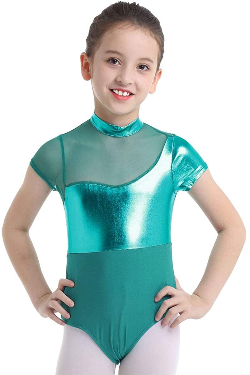 ACSUSS Kids Girls Shiny Metallic Ballet Dance Leotard Short Sleeves Cutout Back Gymnastics Unitard Bodysuit Dancewear