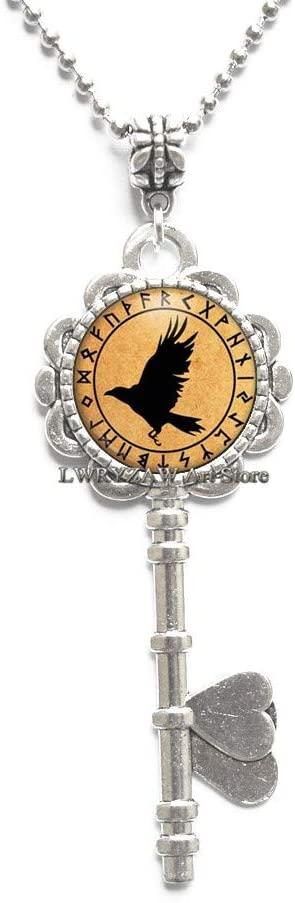 Bird Pendant Rune Key Necklace Occult Jewelry Charm Norse Amulet Animal Raven Pendant Crow Pendant,Cute Key Necklace,M400