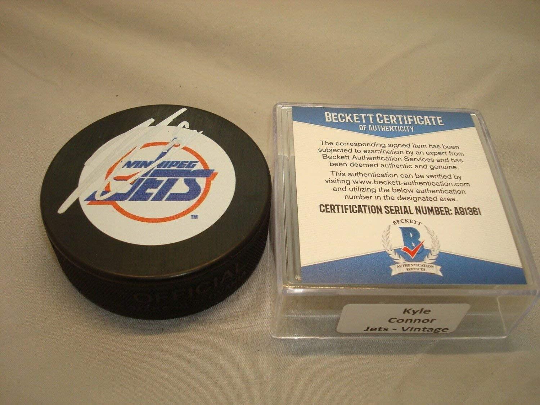Kyle Connor Autographed Signed Winnipeg Jets Hockey Puck Autographed Beckett Beckett COA