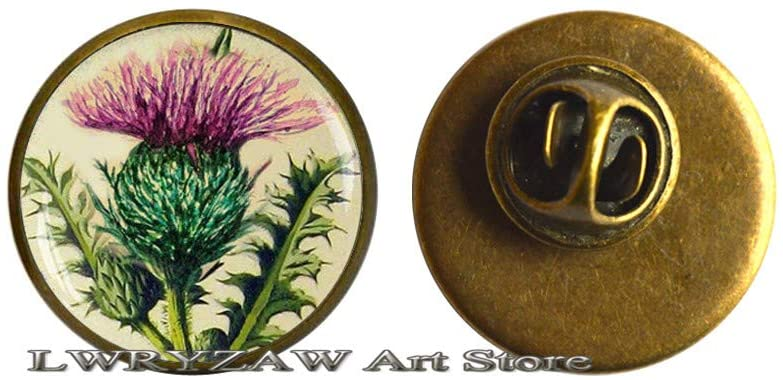 Purple Thistle Brooch, Flower Nature Jewelry Floral Art Purple Thistle Art Pin, Purple Flower Brooch,M47