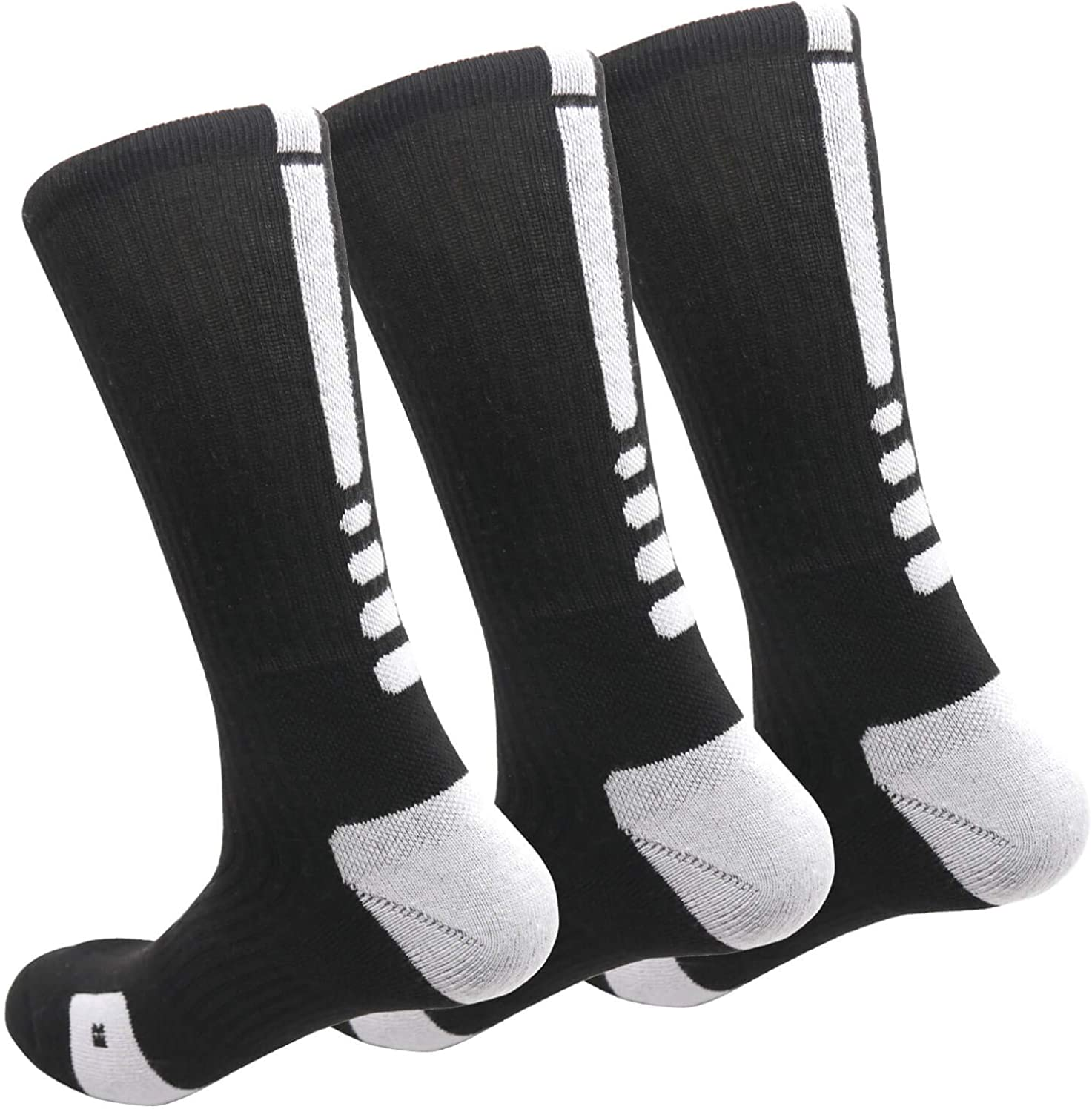 MUMUBREAL Elite Basketball Socks Cushioned Athletic Crew Socks Thick Compression Sports Socks for Men & Women