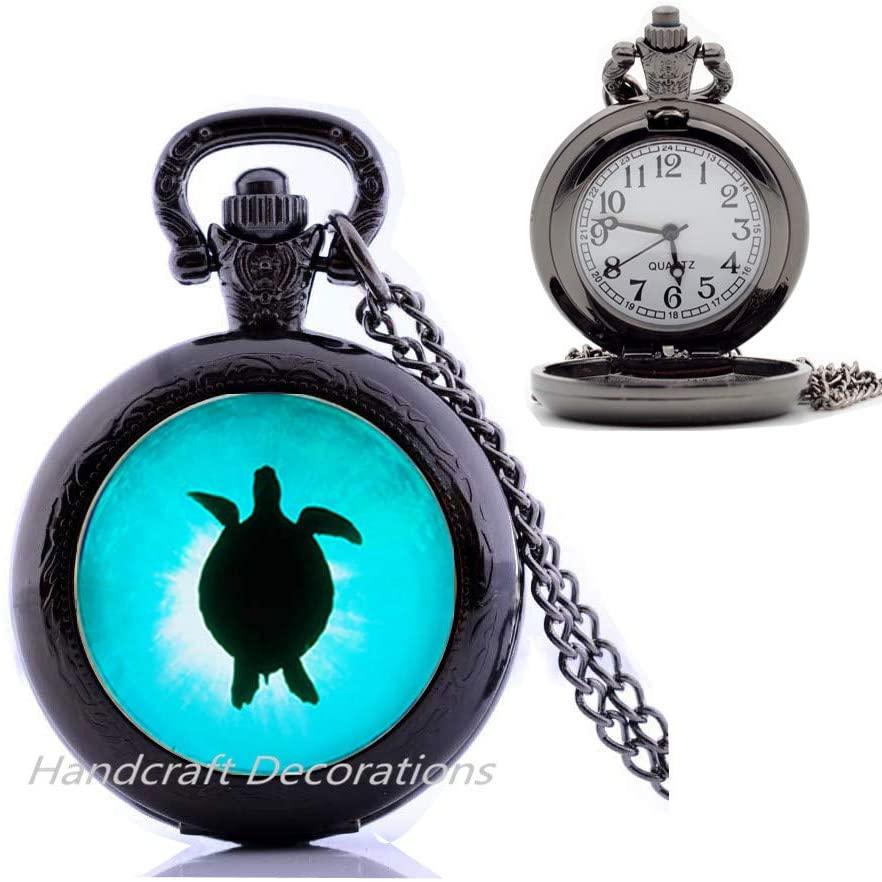 Beach glass jewelry Sea turtle Pocket Watch Necklace.Sea glass jewelry,Sea Turtle Charm Pocket Watch Necklace,glass jewelry Best friend Pocket Watch Necklace,Simple Pocket Watch Necklace.F017