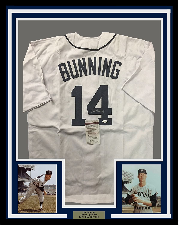 Framed Autographed/Signed Jim Bunning 33x42 Detroit White Baseball Jersey JSA COA