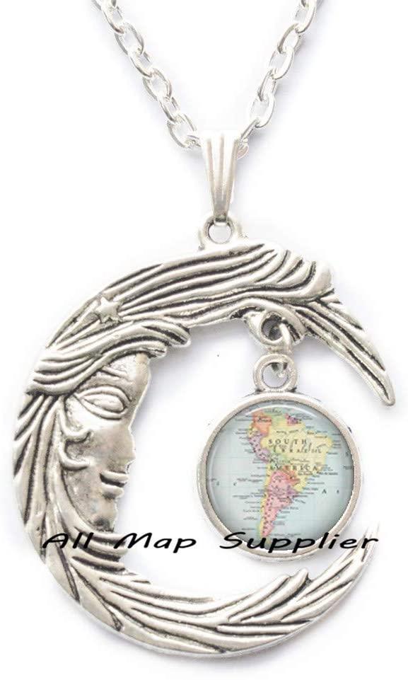 AllMapsupplier Fashion Necklace South America map Pendant,South America map Necklace,South America Pendant,map Jewelry,map Jewellery,A0031