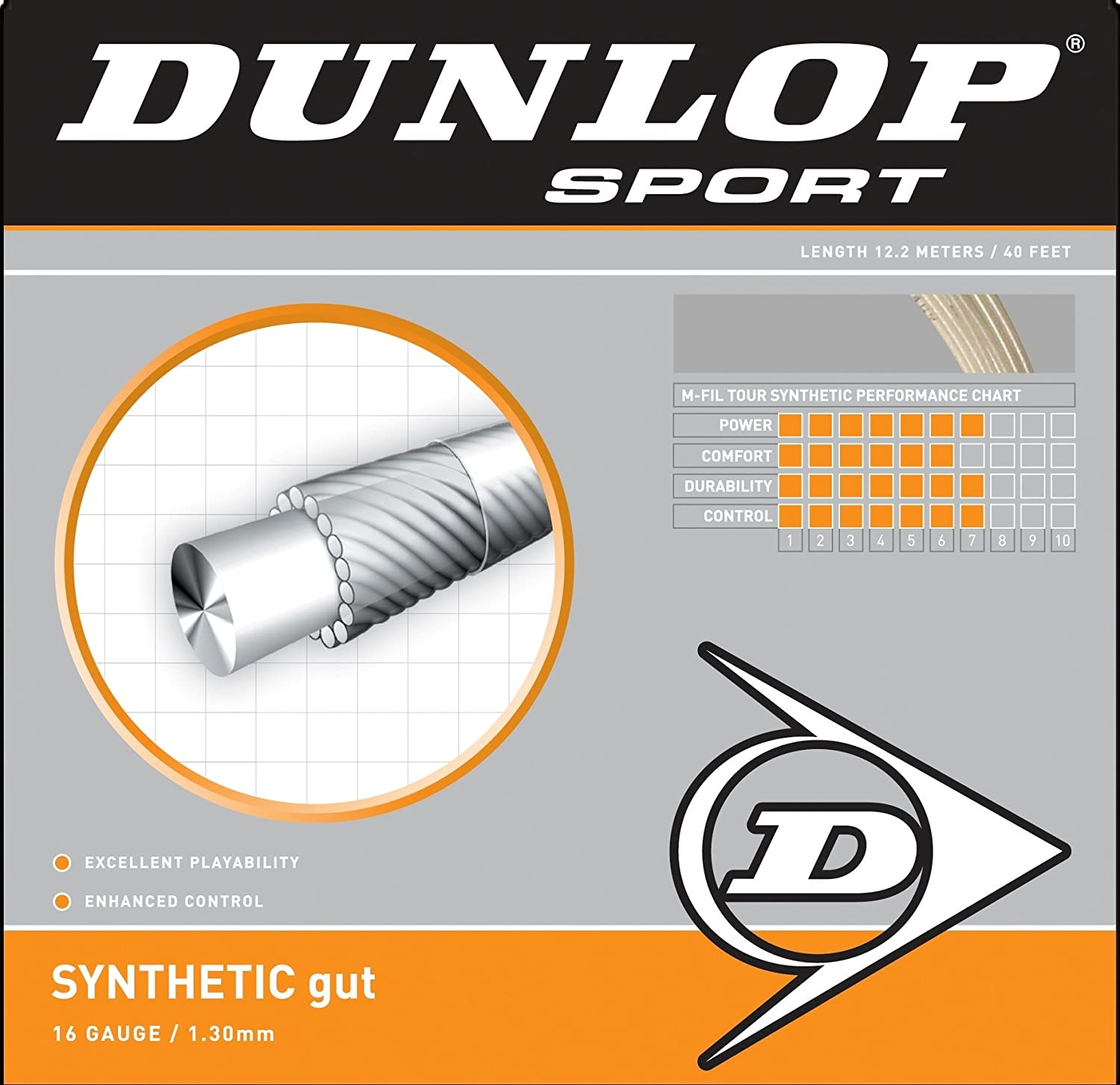 Dunlop Sports Synthetic Gut 16-Guage Tennis String, White
