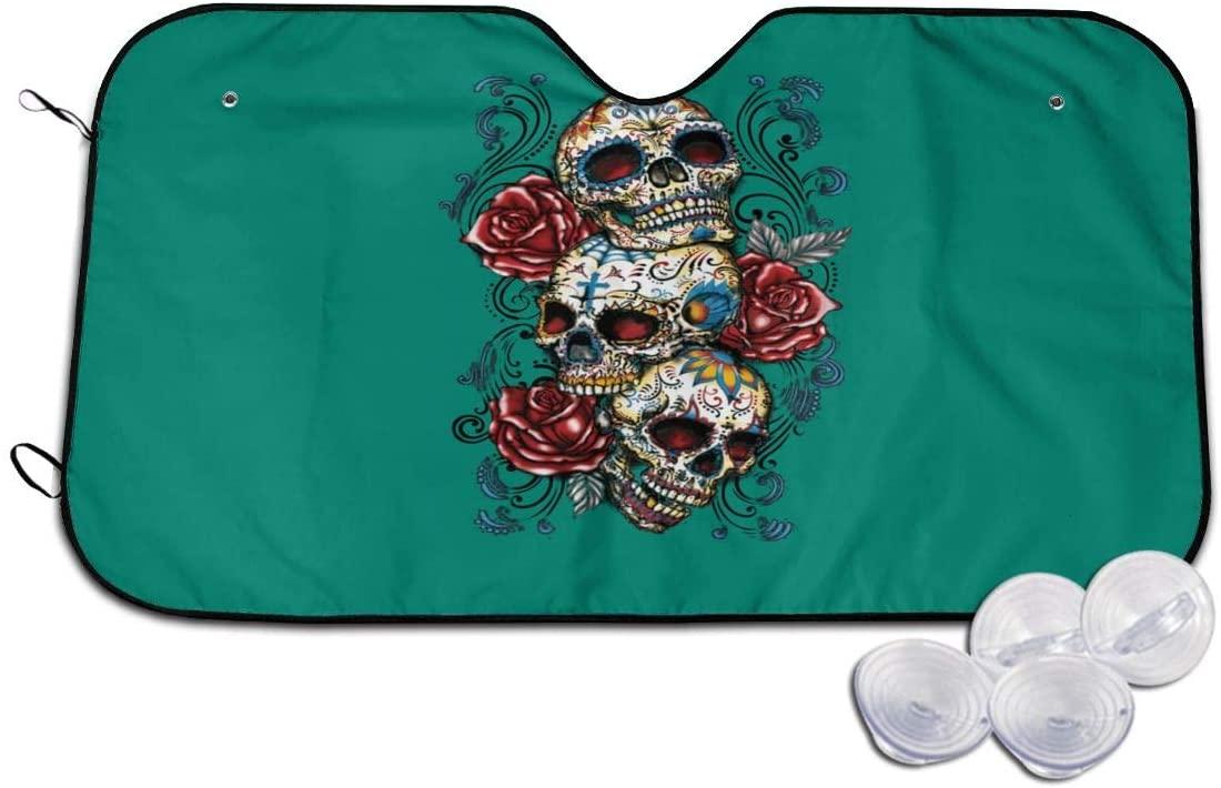 Wehoiweh Skulls Roses Car Windshield Sunshade Cover Blocks Heat and Sun,Foldable Sun Shield (51.18