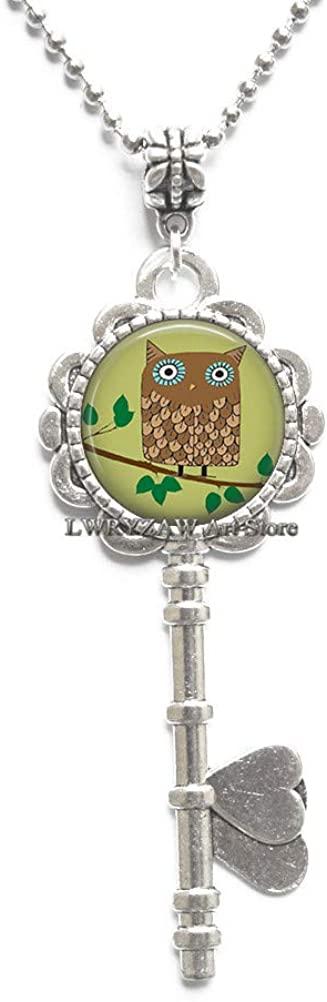 Retro Brown Owl Pendant, owl Jewelry owl Key Necklace Charm owl Gift Cute Brown owl Jewellery,Simple Key Necklace,Handmade Key Necklace,M381