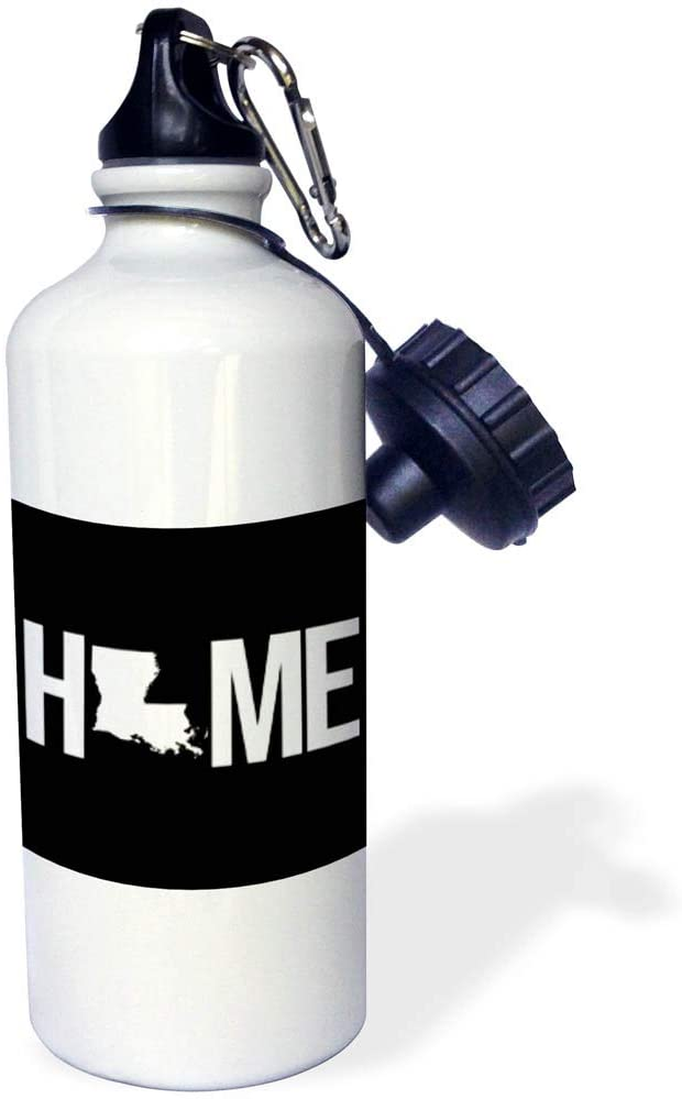 3dRose Stamp City - Typography - Home with Louisiana State as The O. Black Background. - 21 oz Sports Water Bottle (wb_324032_1)