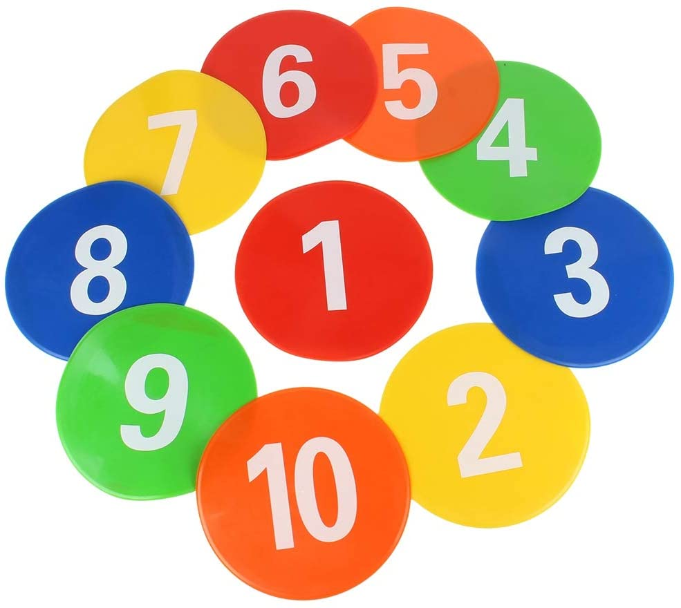 VGEBY1 Football Training Markers, 10 Pcs Speed Training Discs Signs Flat Discs with Number Mark