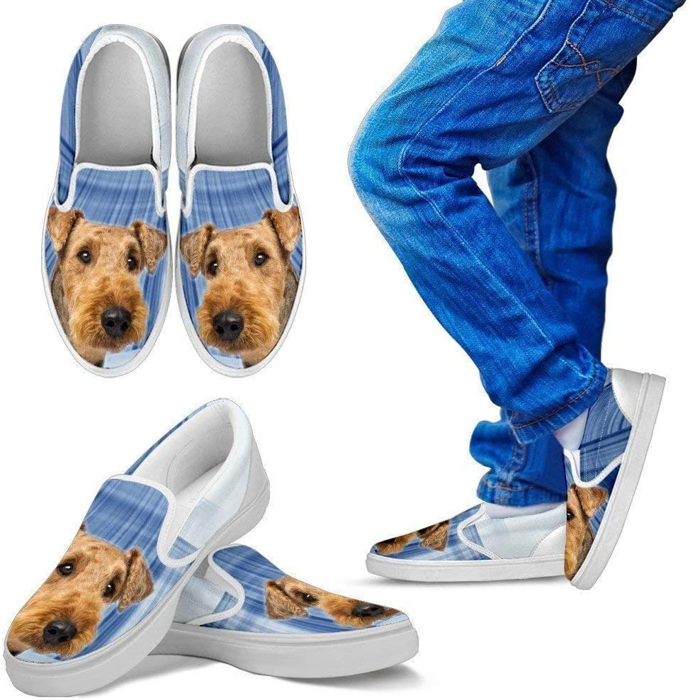 Paws With Attitude Airedale Terrier Print Slip Ons for Kids- Express Shipping