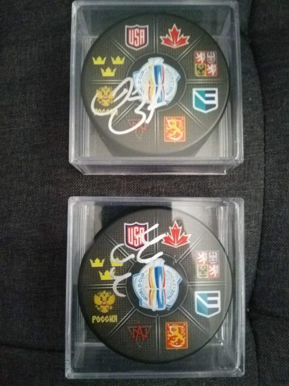 Authentic Autographed Daniel Sedin & Henrik Sedin Team Sweden Pucks Rc Lot PSA/DNA