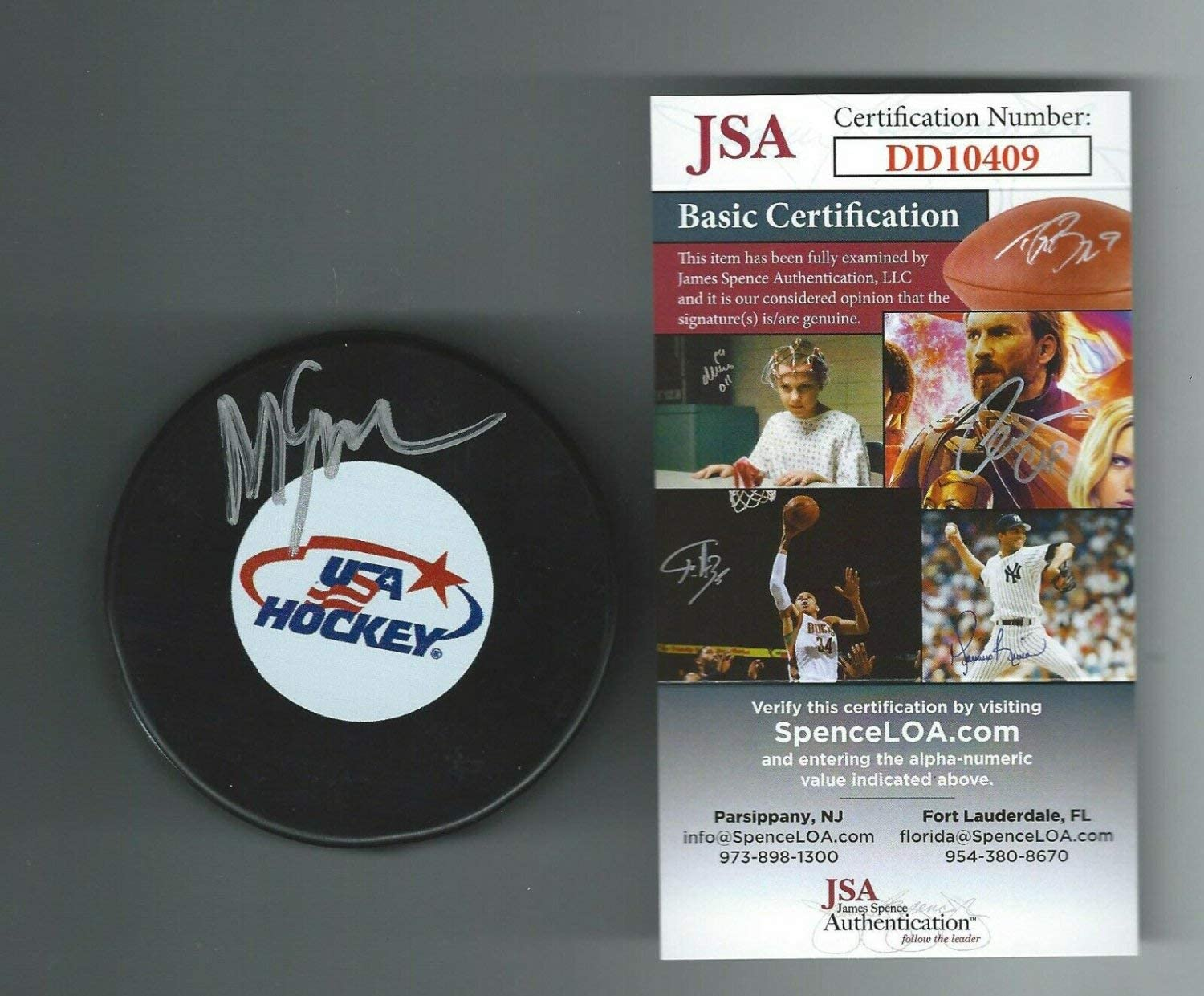 Authentic Autographed Mike Eruzione Usa Hockey Puck JSA COA Dd10409 1980 Miracle On Ice Team