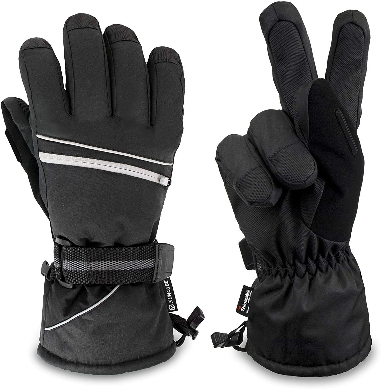 SUN CUBE Ski Gloves for Men & Women | Waterproof 3M Thinsulate Winter Gloves | Windproof Outdoor Snowboard, Snowmobile, Shoveling, Snow Gloves