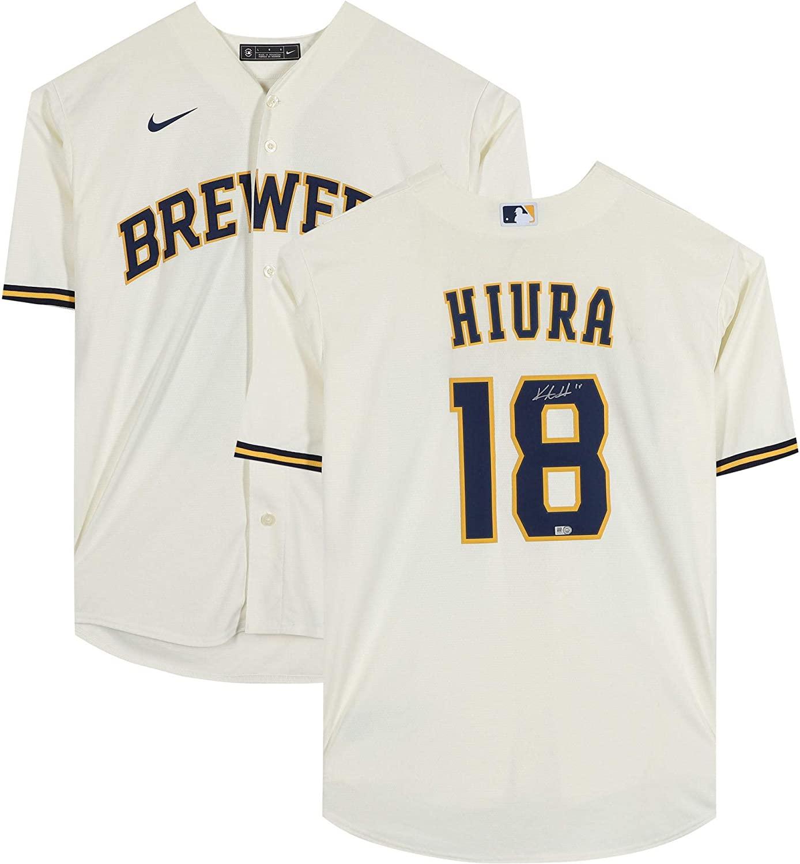 Keston Hiura Milwaukee Brewers Autographed Cream Nike Replica Jersey - Fanatics Authentic Certified - Autographed MLB Jerseys