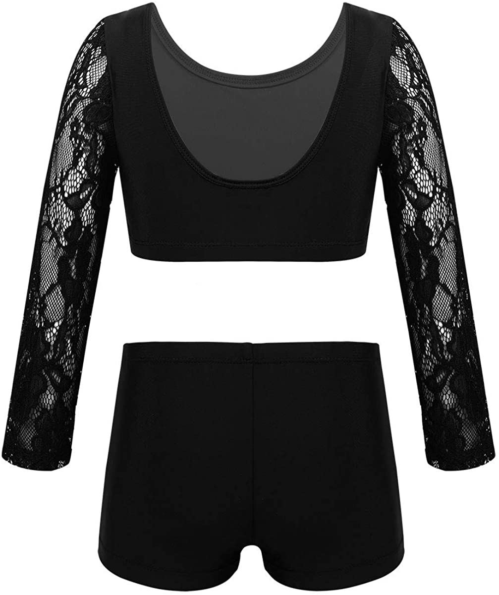 winying Girls 2PCS Dance Outfit Floral Lace Long Sleeves U Back Crop Top with Booty Shorts Athletic Set