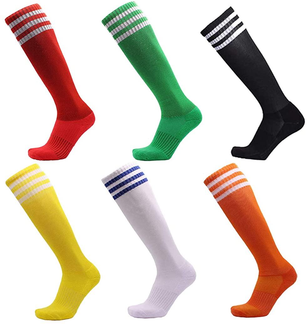 VWU Unisex Knee High 3 Stripes Athletic Soccer Football Tube Socks for Children Man Women