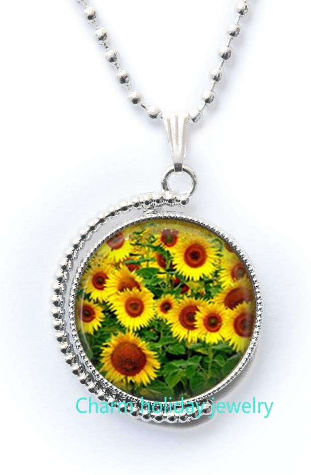 Sunflower Necklace,Sunflower Jewelry,Gifts,Yellow Sunflower Bridesmaid,Sunflower Flower Necklace,Bridal Flowers,Bridesmaid Necklace-#153