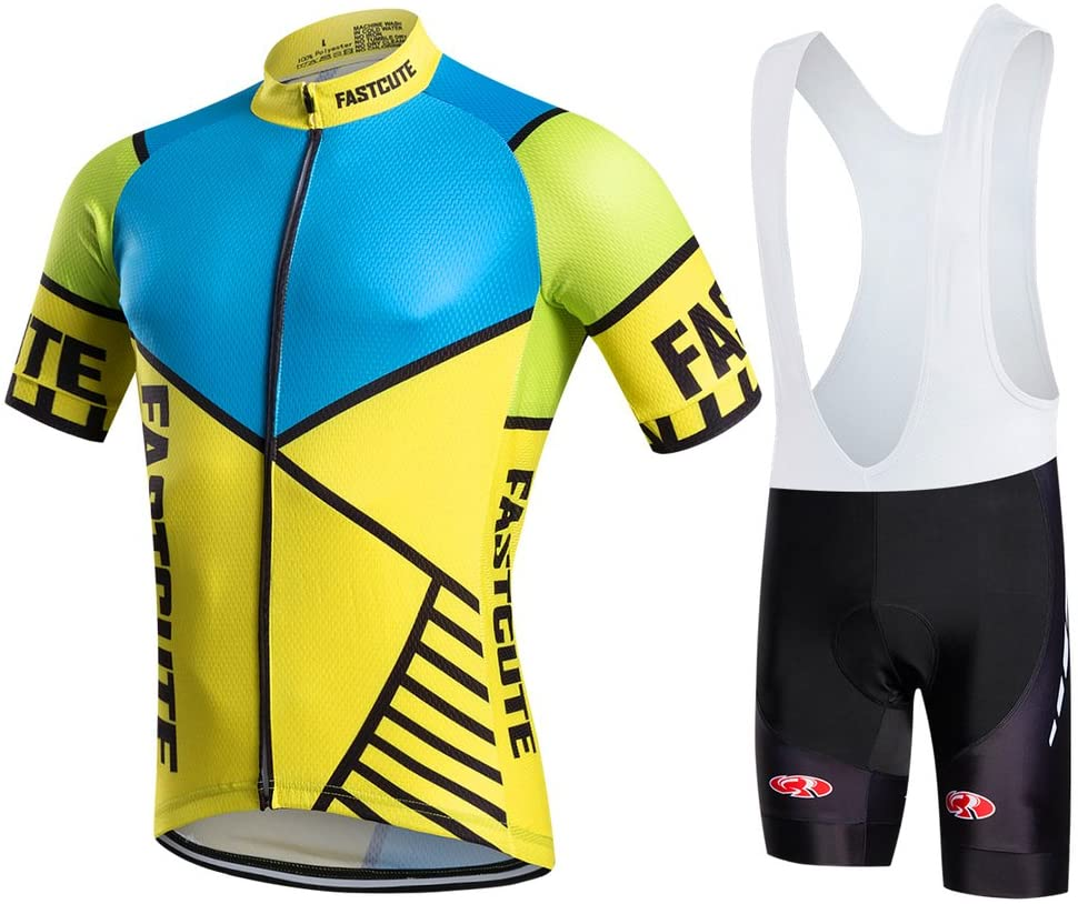 FASTCURE Pro Team Men's Short Sleeve Cycling Jersey and 3D Padded Bib Shorts Set
