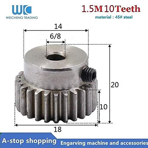 Fevas 1pcs Spur Gear Pinion 10T 10Teeth Mod 1.5 M=1.5m Bore 6/8mm Right Teeth 45# Steel Positive Gear CNC Gear Rack - (Number of Teeth: 10 Teeth, Hole Diameter: 8mm)