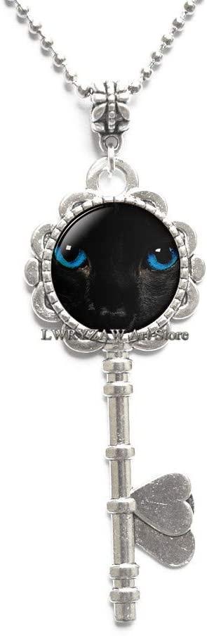 Black cat Pendant, Cat Key Necklace, Black cat Jewelry,Gothic Pendant, Art Pendant, Gift for Friend Family Halloween Jewelry,M269