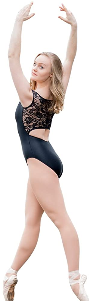 HDW DANCE Women Tank Dance Leotard Bodysuit Back Lace Shiny Lycra