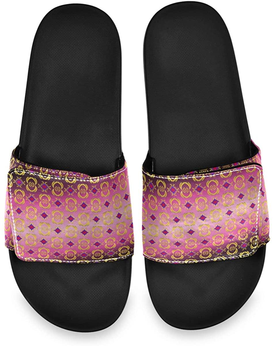Golden Geometric Figure Hot Pink Men's Summer Sandals Slide House Adjustable Slippers Open Toe Boys