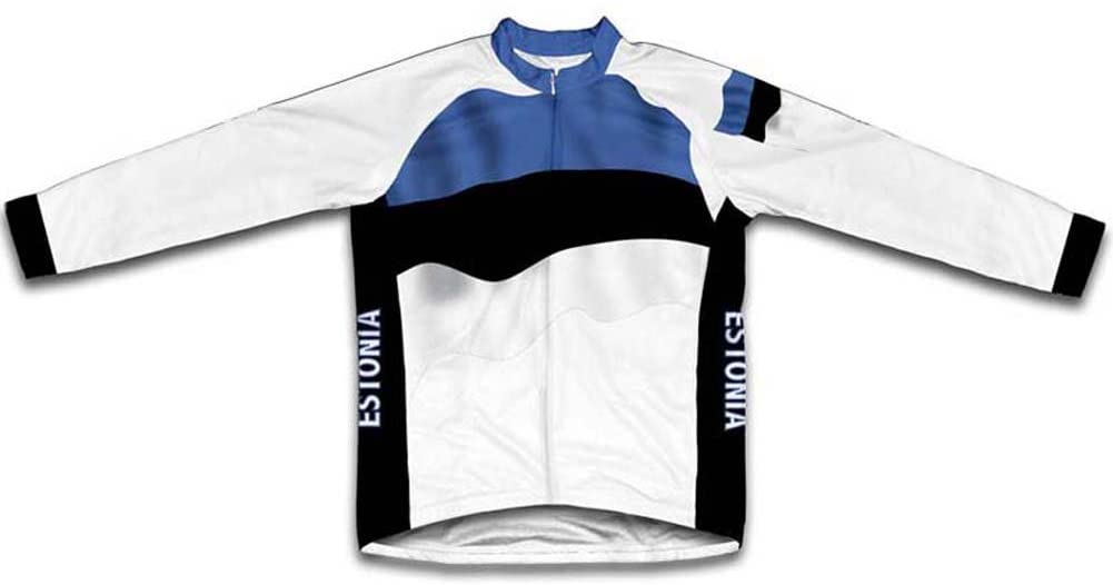 ScudoPro Estonia Flag Winter Thermal Cycling Jersey for Men
