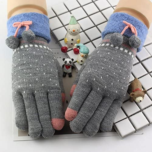 OLQMY-Winter and Autumn mustKorean Female Students Bike Thickening Plus Cashmere Fingers Gloves, Autumn And Winter Knitting Wool, Warm Fingers, Cotton Gloves,Gray