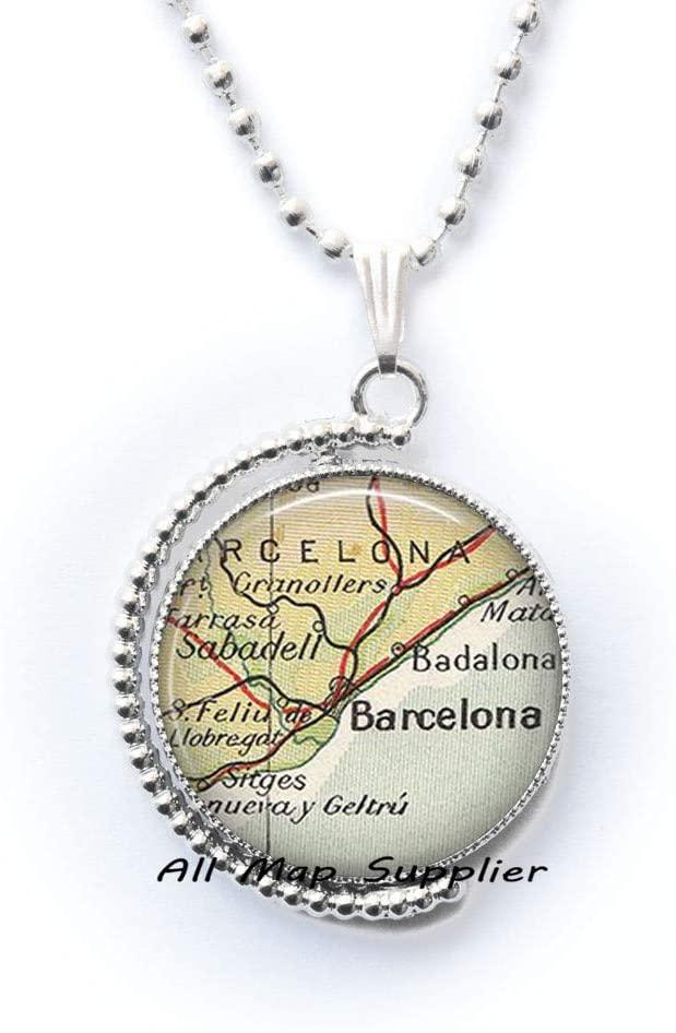 AllMapsupplier Fashion Necklace Barcelona map Pendant,Barcelona Necklace,Barcelona,Spain map Jewelry,Barcelona Pendant,A0060