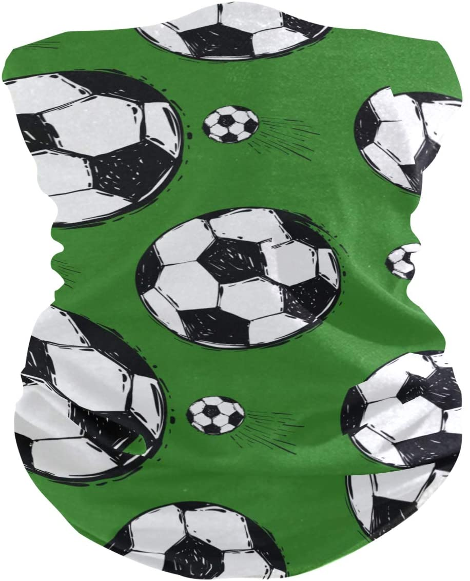 ATONO Football Balls Soccer Repeat Watercolor Green Face Sun Dust Mask Neck Gaiter Magic Scarf Seamless Bandana Outdoors Sports Wipes Mask Dust Wind Sun Protection for Men & Women