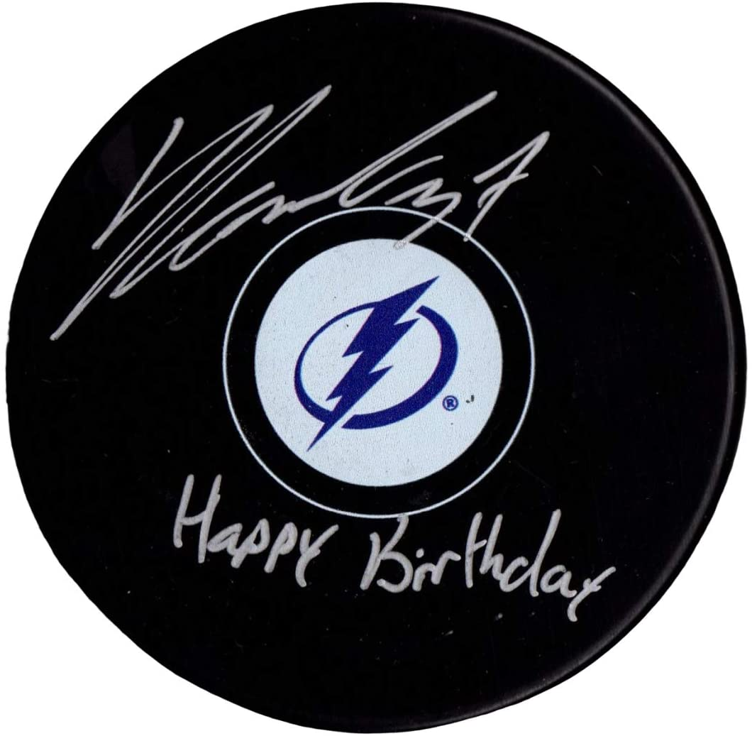 Yanni Gourde autographed signed inscribed puck NHL Tampa Bay Lightning PSA COA